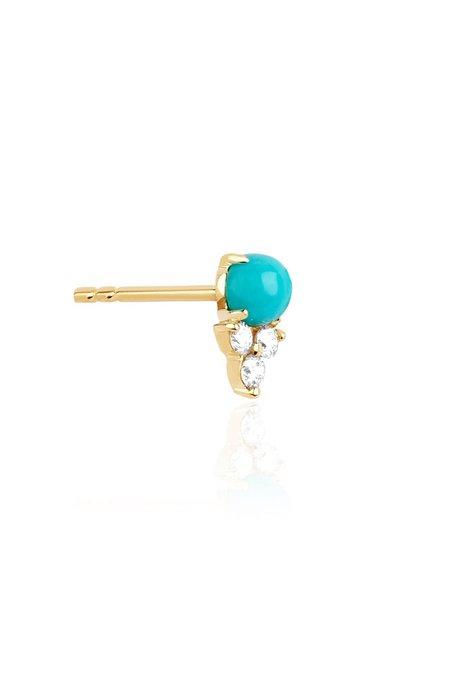 EF Collection Diamond Trio Turquoise Stud Earring