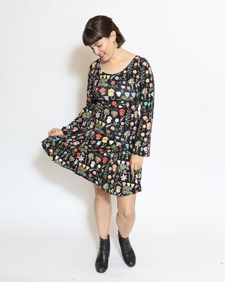 Samantha Pleet Fleur Dress - Black Blossom Print
