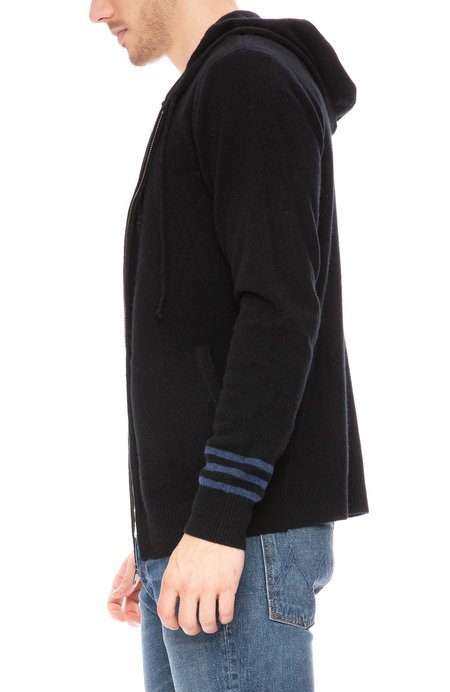 Ron Herman Striped Sleeve Cashmere Hoodie