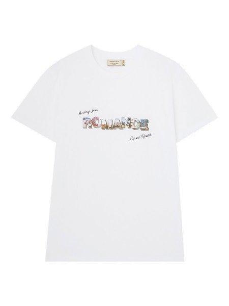 Maison Kitsune Greetings From Graphic T-Shirt - White