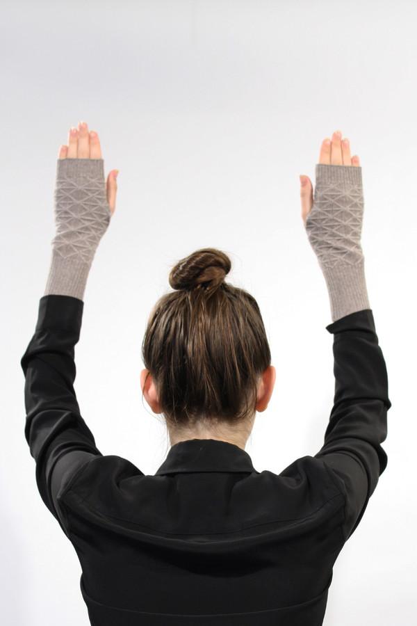 Micaela Greg Cream Fragment Fingerless Gloves