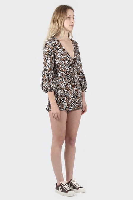 The Fifth Jeanne Playsuit - Black Floral Muse