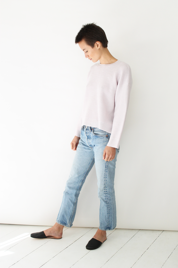 MICAELA GREG  ripple sweater pearl pink