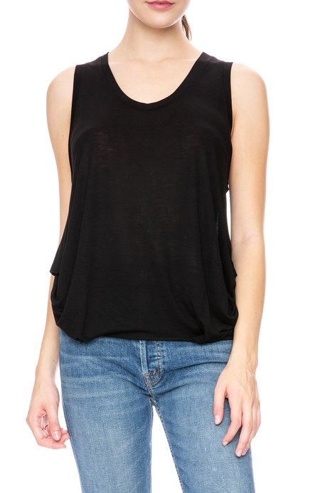 Beautiful People Silk Back Round Neck Tank with Side Draping