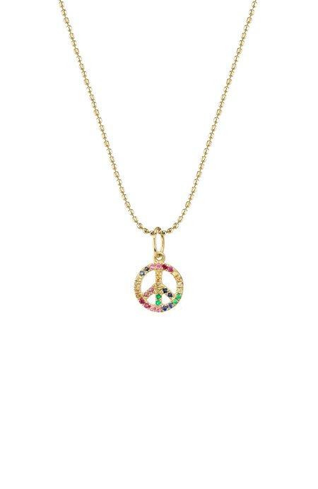 Sydney Evan Mini Pave Rainbow Peace Sign Necklace