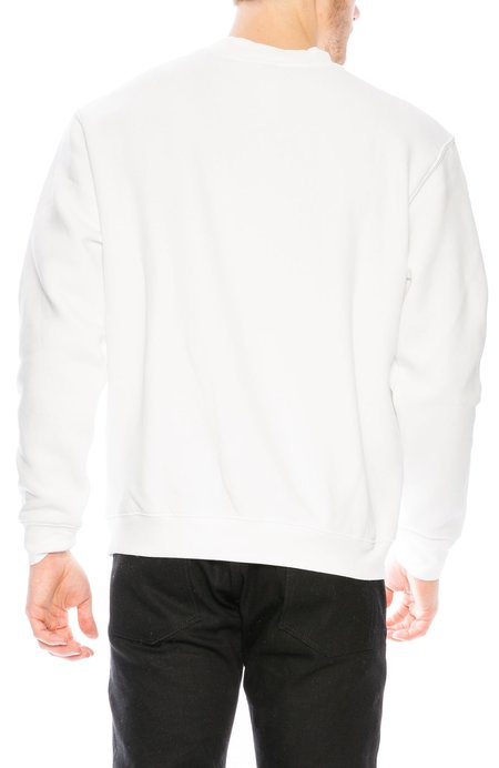 Yeah Right NYC No Thanks Embroidered Crew Neck Sweatshirt - White/Red