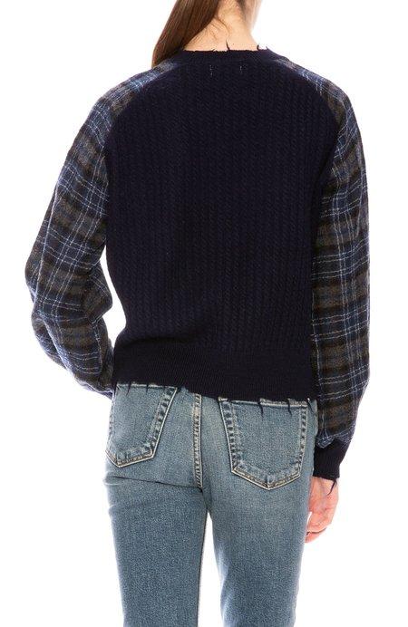 27 Miles Plaid Sleeve Pullover - Navy