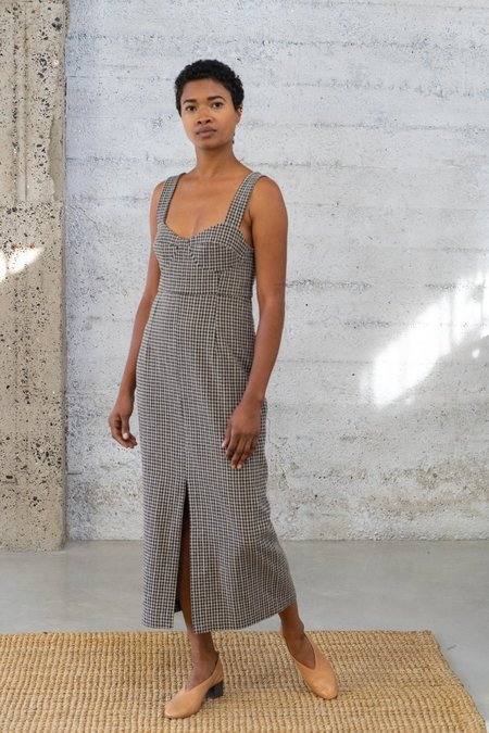 Waltz Bralette Checked Wool Dress