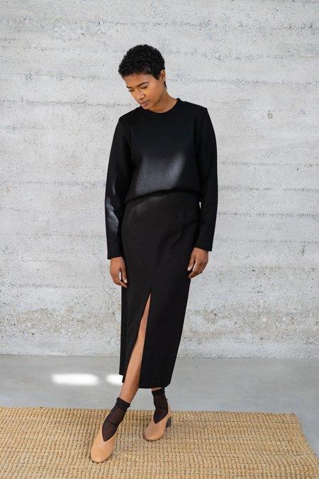 Waltz High-Waisted Long Wool Viscose Twill Skirt - Black