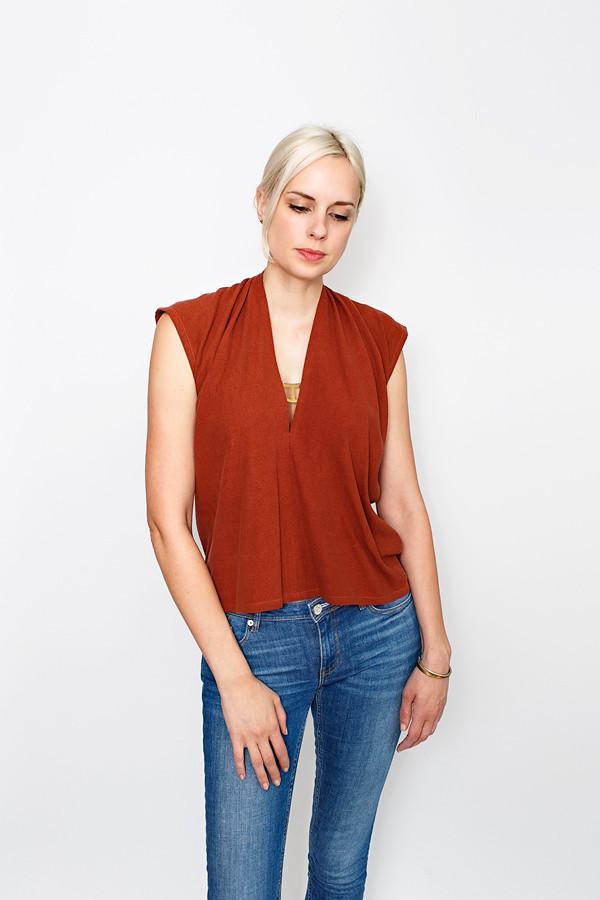 Flash Sale Rust Everyday Top, Silk