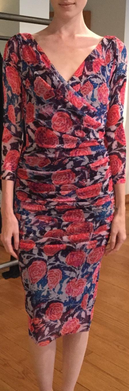 Fuzzi floral v neck drape dress - pink rose