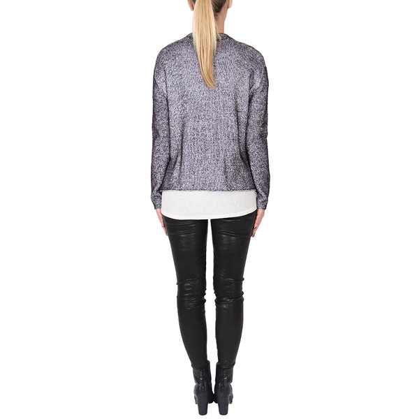 T By Alexander Wang PLAITED CARDIGAN PULLOVER - BLACK + WHITE