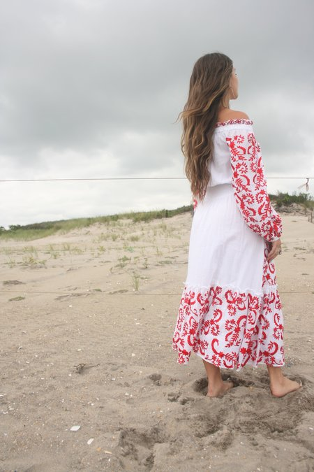 MISA Lilou Dress - White with Red Embroidery