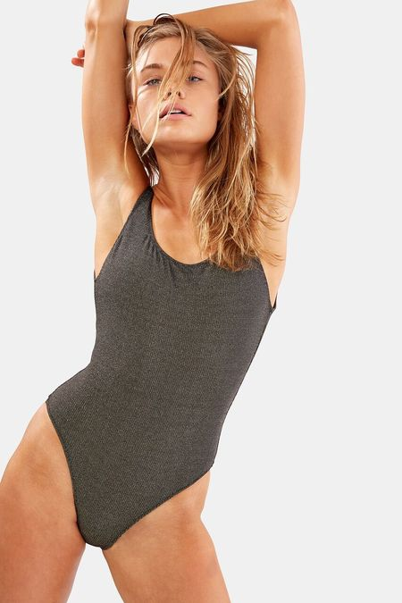 Solid and Striped Anne Marie Metallic Rib one piece - Gold/Black Metallic