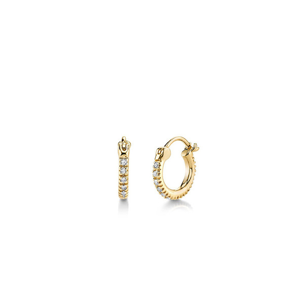 SYDNEY EVAN BABY YELLOW GOLD AND DIAMOND HUGGIE HOOPS