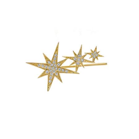 SYDNEY EVAN GOLD AND PAVÉ DIAMOND TRIPLE STARBURST EAR WIRE