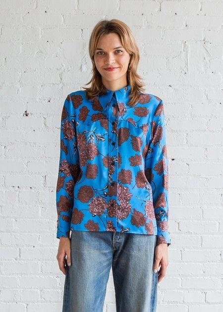 No.6 Sergio Western Shirt - Electric Blue Faux-Croix