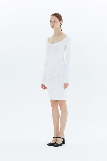 Y/project Pearl Long Sleeves Dress - White