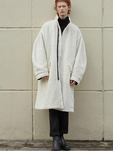 HALEINE Reversible Shearling Effect Long Parka - White Black