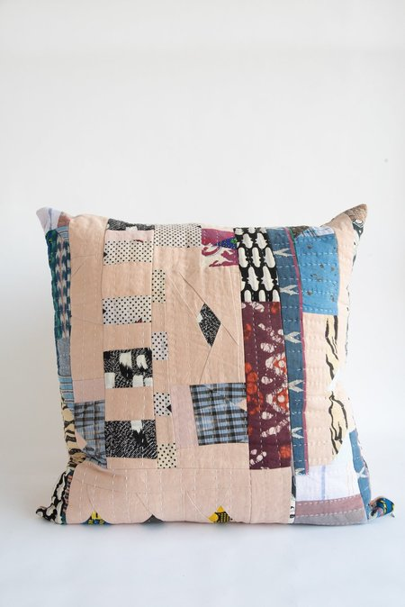 Counterpane Patchwork Pillow - Soft Pink/Indigo/Magenta