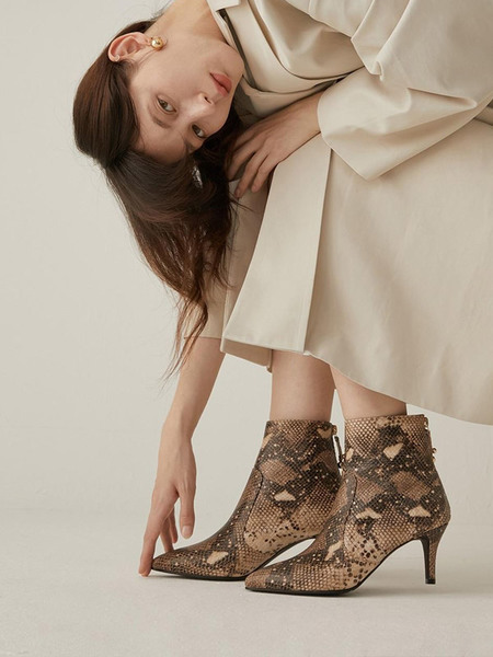 CHIELEI Drop Ankle Boots - Brown