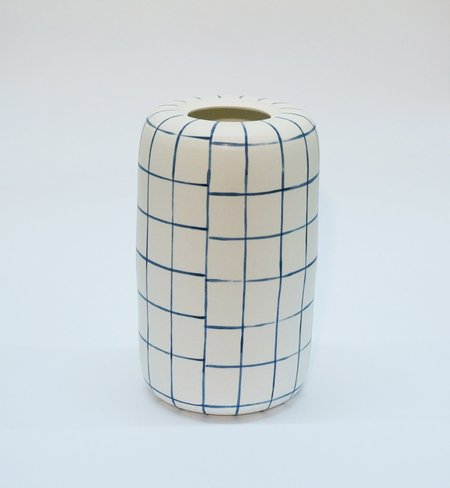 Workaday Handmade Large Grid Vase - Cobalt Blue