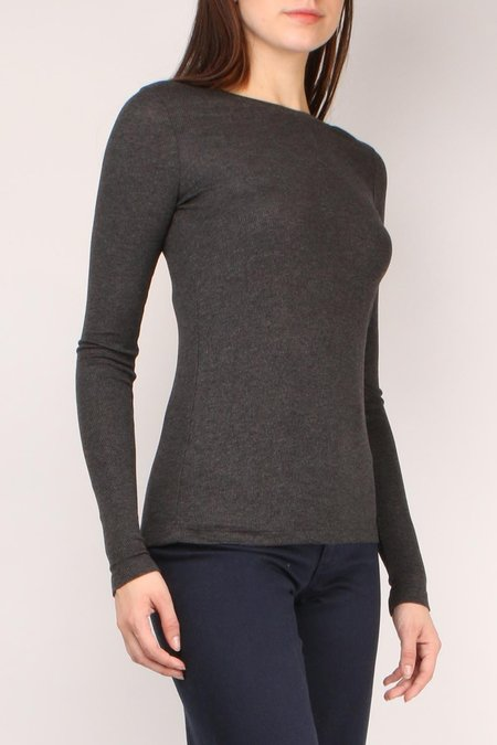 GOLDIE Ribbed Long Sleeve Tee - Charcoal