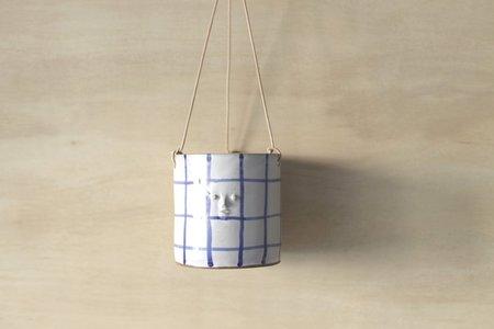 Rami Kim Mini Face Hanging Planter Small - Cobalt Blue Grids