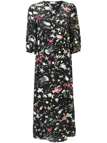RIXO LONDON drape silk tie dress - Multi