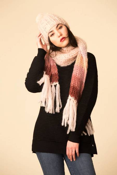 Maiami Mohair Basic Scarf w/ Gradient Border - Nude