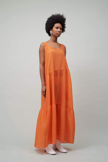 Nomia Maxi Gathered Dress - Vermillion