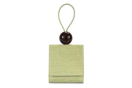 By Far Embossed Leather Ball Bag - Sage Green Croco
