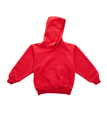 Kids Balenciaga Cotton Embroidered Hoodie - Red