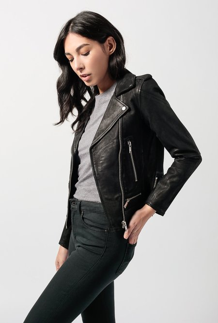 Doma Leather Tonal Leather Jacket - Black