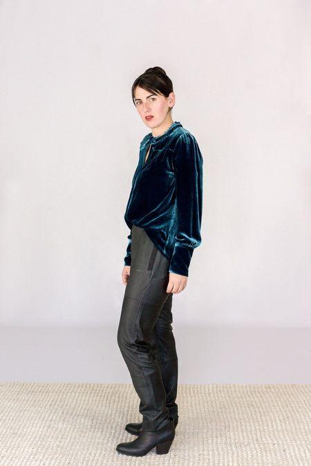 GOSILK Go Silk Go Velvet Edwardian Blouse - Azure