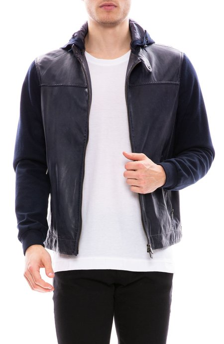 Gimos Jersey Sleeve Lather Jacket - Navy
