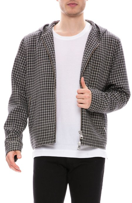 AMI Zip Through Plaid Jacket - Grey/Black