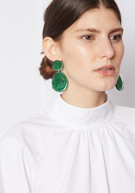 Mars Double Drop Earrings - Green Glitter