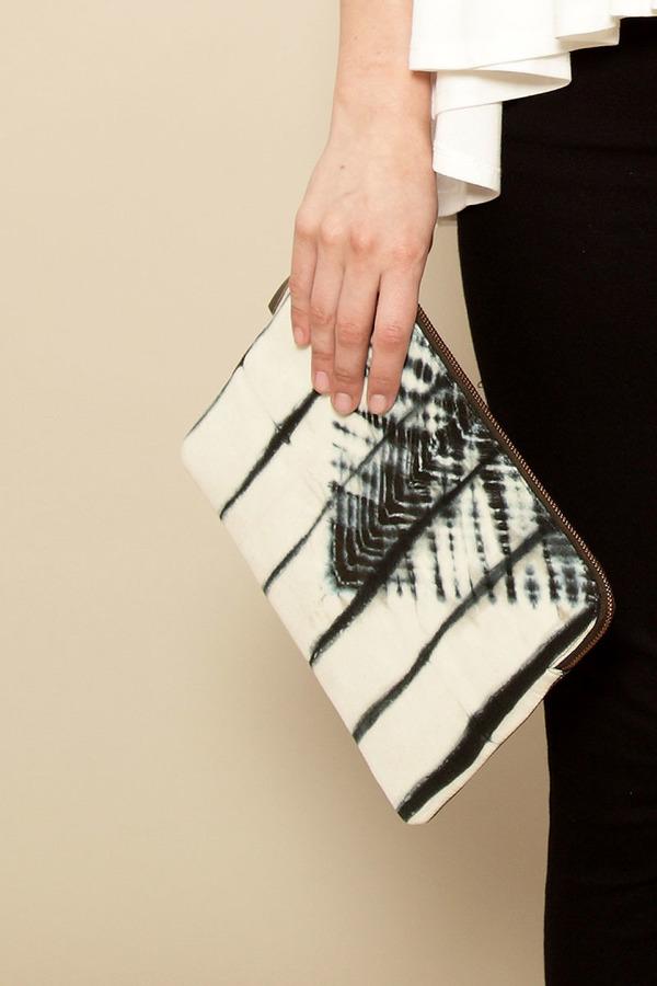 Laura Siegel Bandhani leather clutch