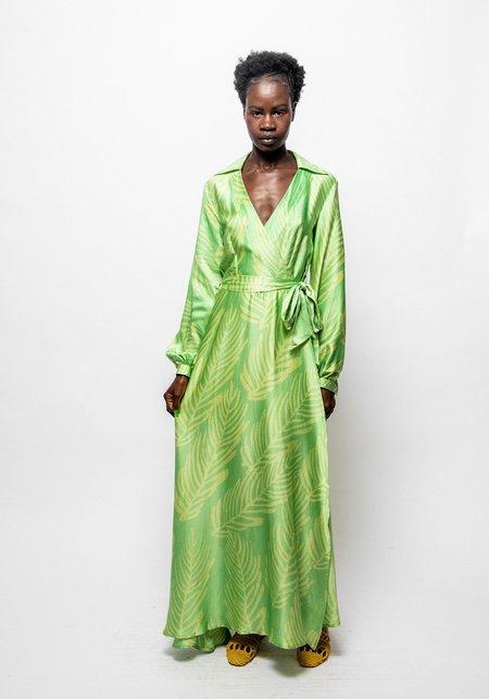 Studio One Eighty Nine Hand-Batik Silk Solange Dress - Green/Yellow Palm Leaf