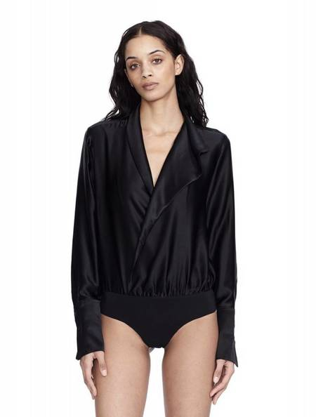 Alix NYC Reade Silk Bodysuit - BLACK