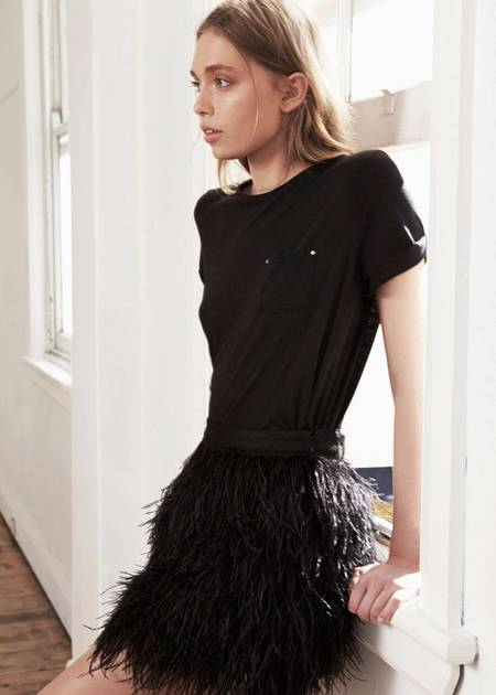 Aje Wattle Feather Mini Skirt - BLACK