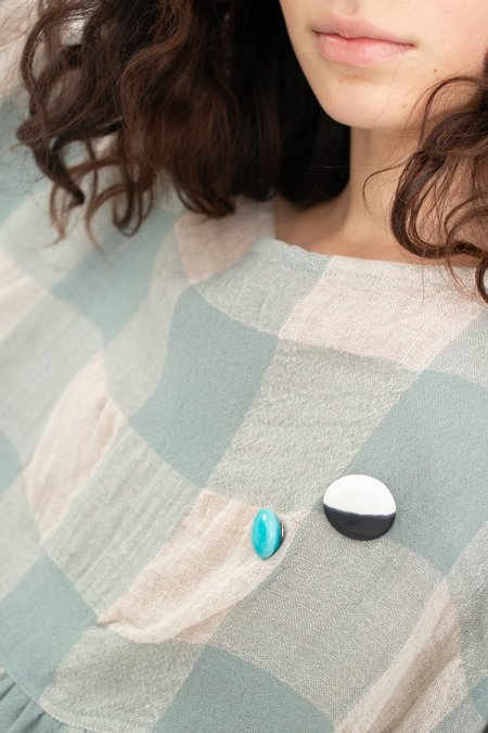 Monty J Ceramic Button Brooch - Black & White