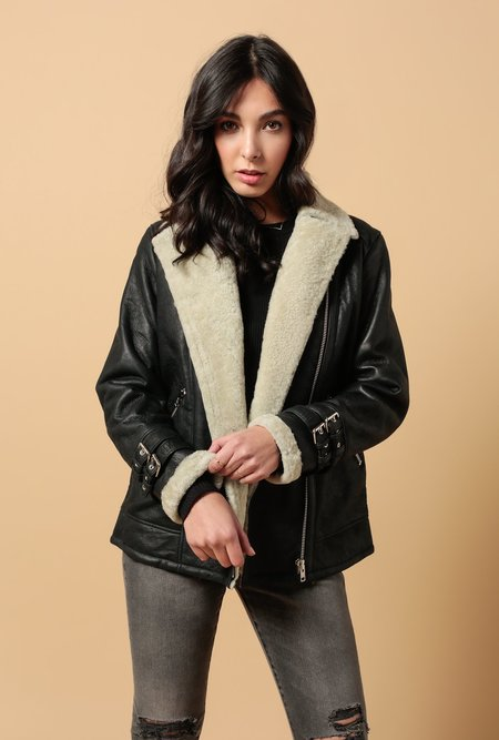Doma Leather Shearling Biker Jacket - black