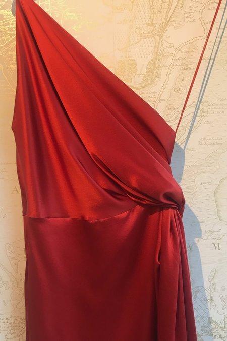 Michelle Mason Silk Charmeuse Twist Knot Dress - RED