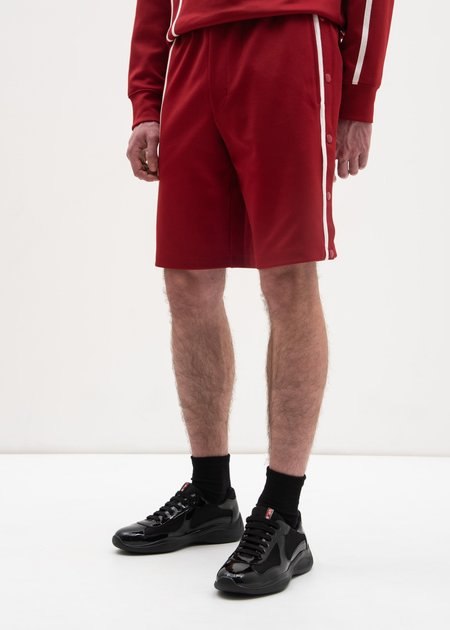 Helmut Lang Crimson Sport Stripe Shorts - Red