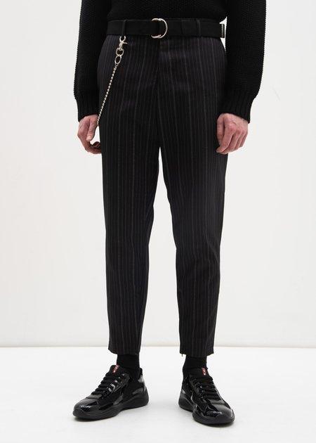 Carson Cartier Stripe Trouser w/ Chain - Black