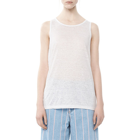 T By Alexander Wang LINEN TANK TOP - WHITE