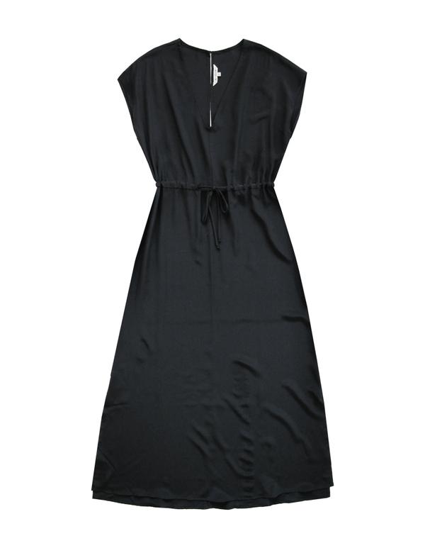 ALI GOLDEN DRAWSTRING DRESS - BLACK