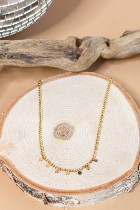 Zoe Chicco 14k Curb Chain Necklace with 7 Itty Bitty Discs